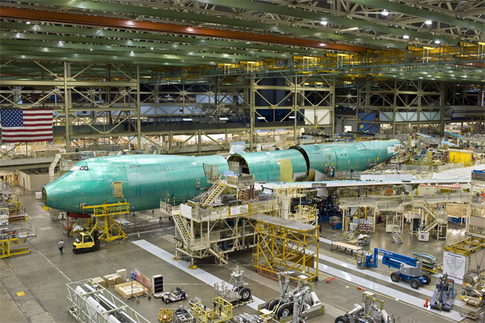 Boeing 747-8 Freighter Joining Fuselage Sections and Wings