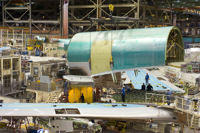 Boeing 747-8 Freighter Wings and Fuselage Joining