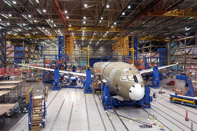 Final assembly of Boeing 787 Dreamliner
