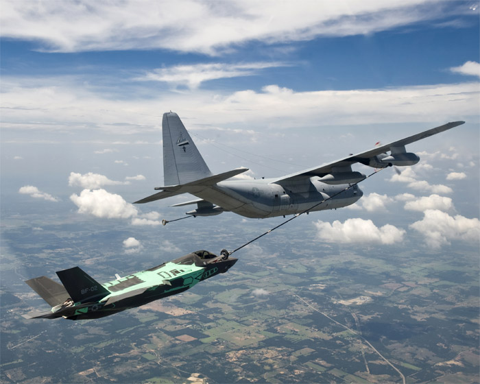 Lockheed Martin F-35B STOVL aerial refueling using KC-130J Tanker