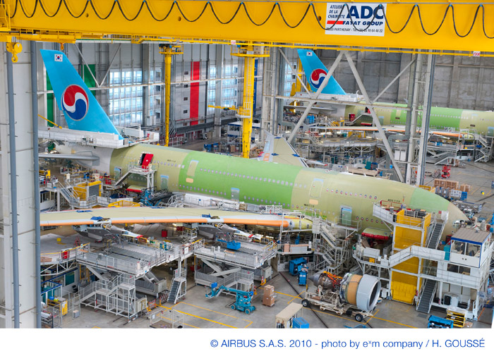 Korean Air (KAL) Airbus A380 on Production Line