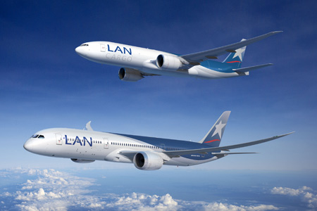 Lan Chile Boeing 787 Dreamliner and 777-200LR Freighter