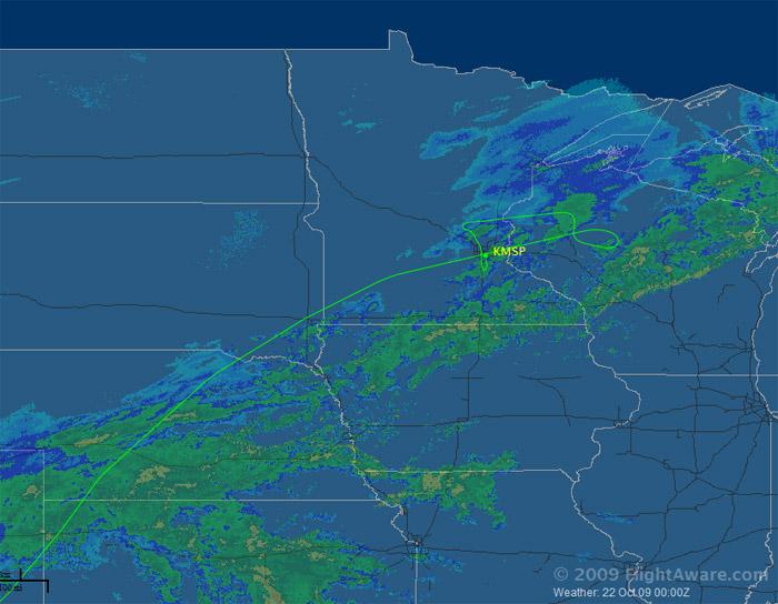 Northwest Airlines Flight 188 Flight Path Map