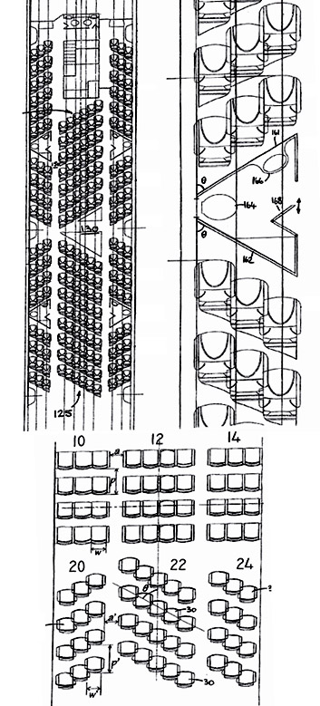 Patent for diagonal seat rows in airplanes