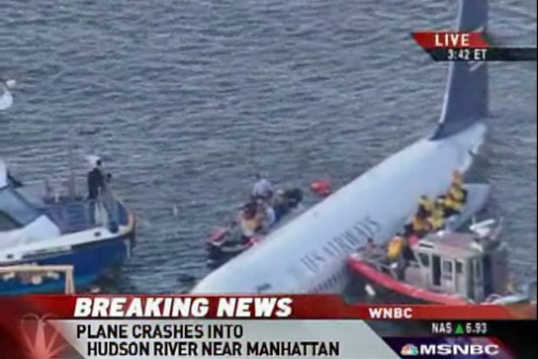 USAirways Flight 1549 A320 down in Hudson River New York