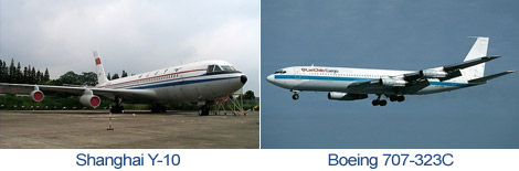 Comparison Shanghai Y-10 and Boeing 707-320